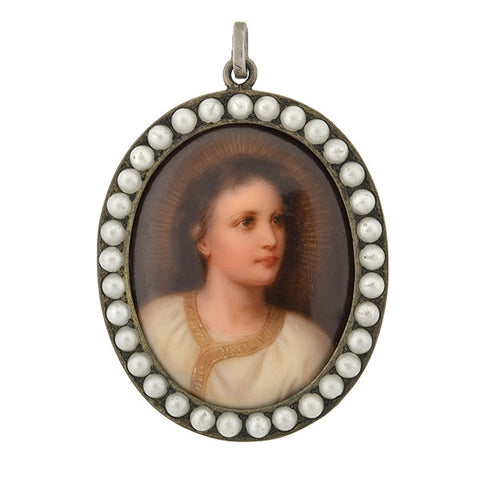 Victorian Sterling & Pearl Painted Porcelain of Young Christ