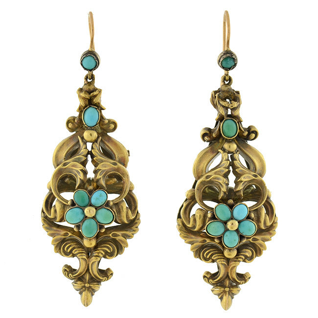 Georgian 18kt Huge Hand Wrought Turquoise Earrings