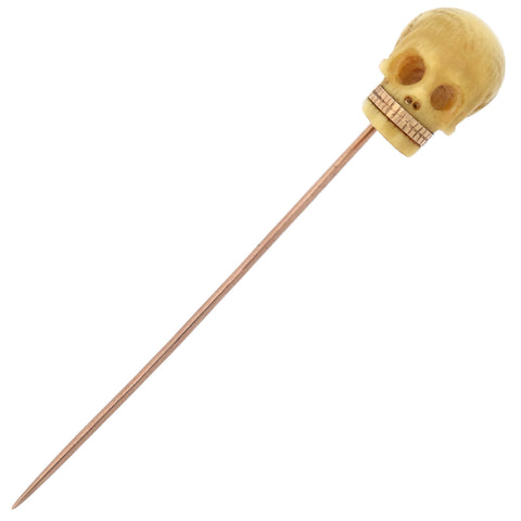 Victorian 14kt Hand Carved Ivory Skull Stickpin with Gold Teeth