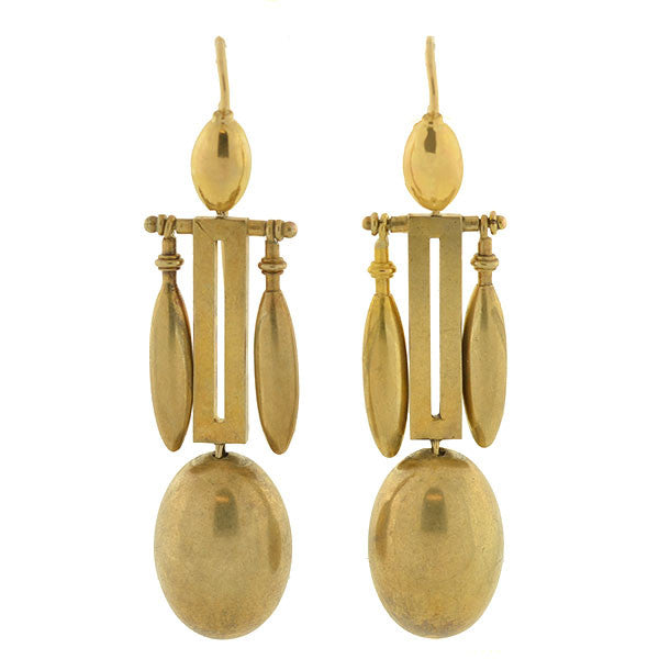 Victorian 15kt Hanging Vessel & Ball Earrings