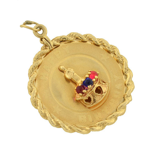"Vintage Large 14kt Ruby & Sapphire ""Happy Birthday"" Charm"