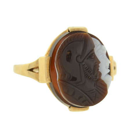 Victorian 10kt Banded Agate Double Cameo Ring