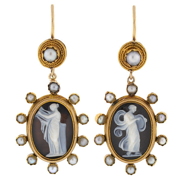 Victorian 15kt Pearl & Hard Stone Cameo Earrings