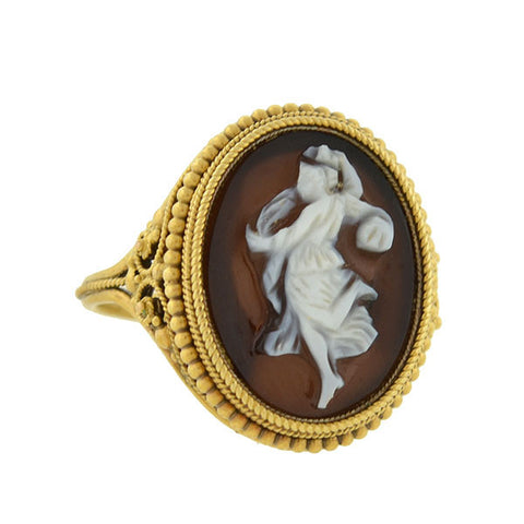 "Victorian 18kt Hardstone Agate Cameo ""Dancing Muse"" Filigree Ring"