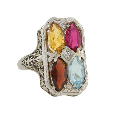 Art Deco 14kt Multi Gemstone & Filigree Harlequin Ring