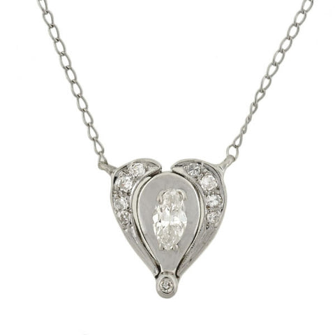 Estate 14kt Convertible Diamond Heart/Lavalier Necklace