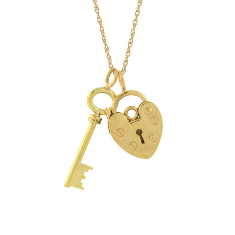 Vintage 14kt Gold Key + 9kt Padlock Heart Charm Necklace