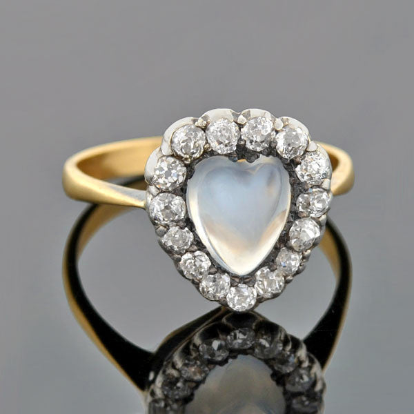 Art Nouveau 14kt Moonstone Diamond Heart-Shaped Cluster Ring
