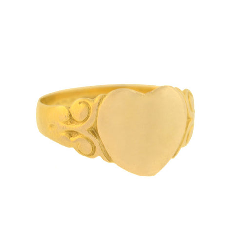 Edwardian English 9kt Gold Heart Signet Ring