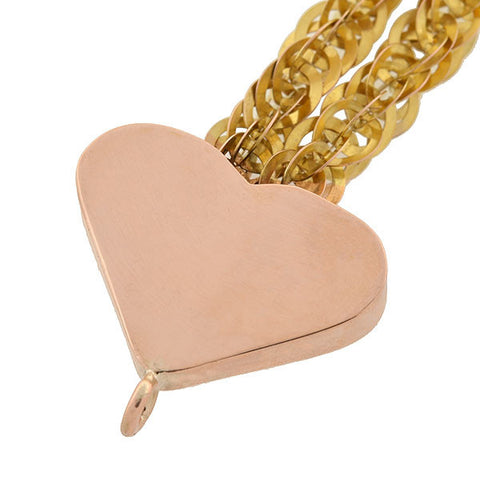 Victorian 14kt Heart Slide Pendant & Chain Necklace