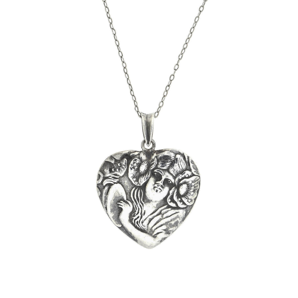 Art Nouveau Sterling Repousse Heart-Shaped Pendant Necklace