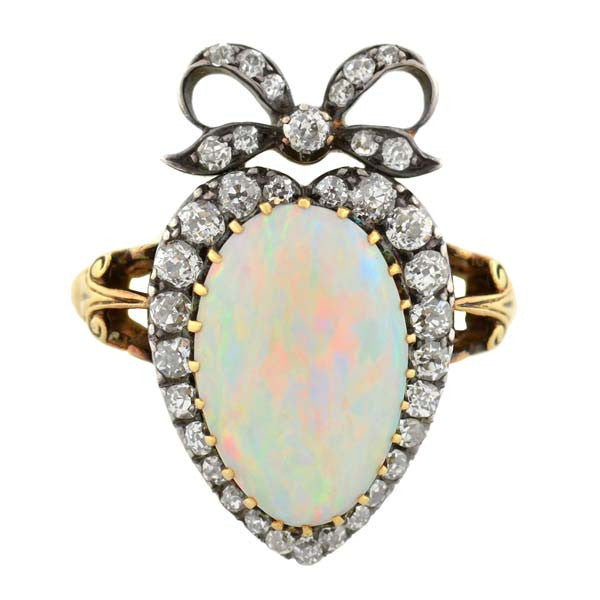 Victorian 18kt Sterling Opal & Diamond Heart & Bow Ring