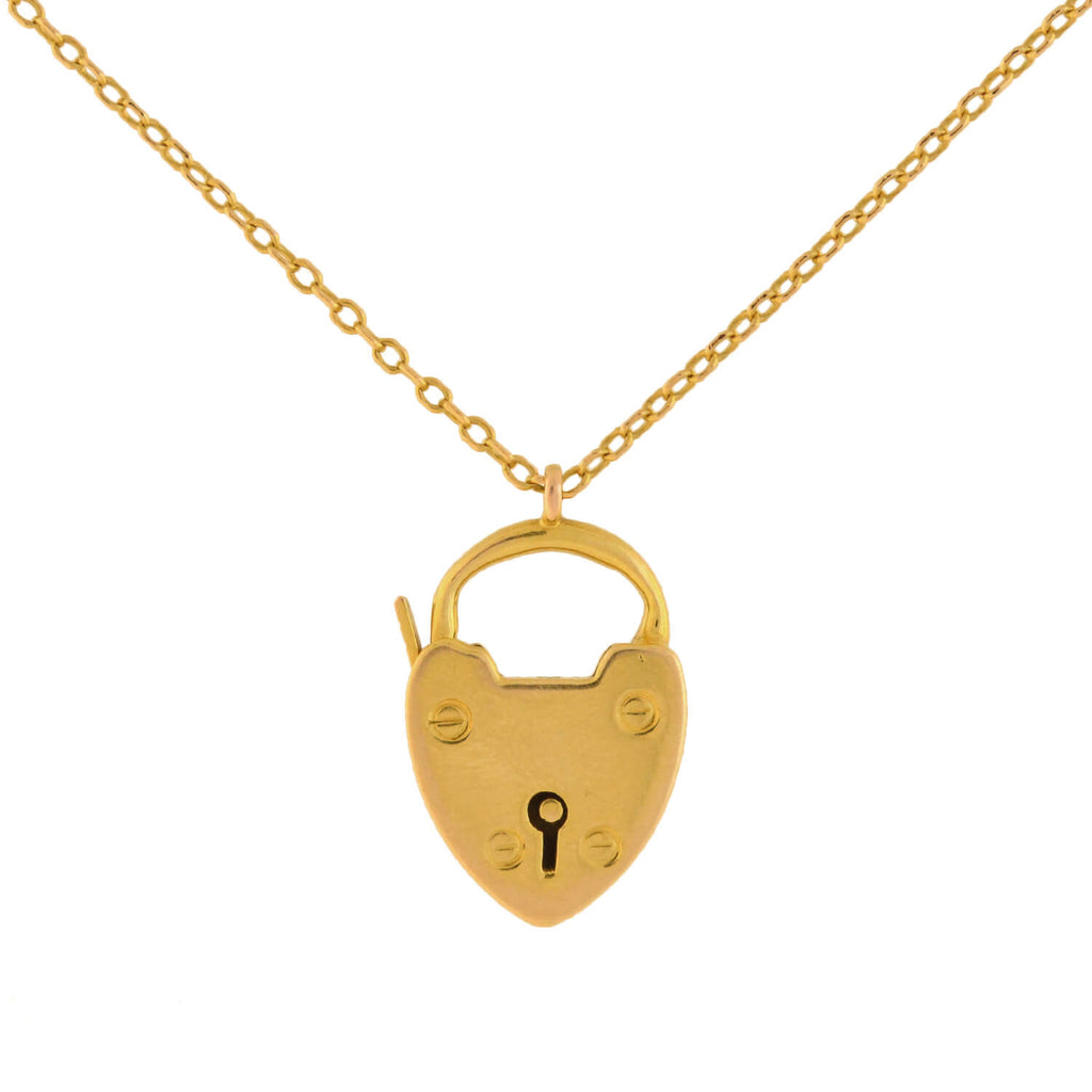 Victorian 15kt Gold Padlock Heart Charm Necklace 23""