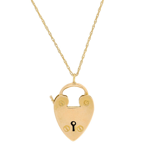 Victorian English 9kt Padlock Heart Pendant Necklace 16""