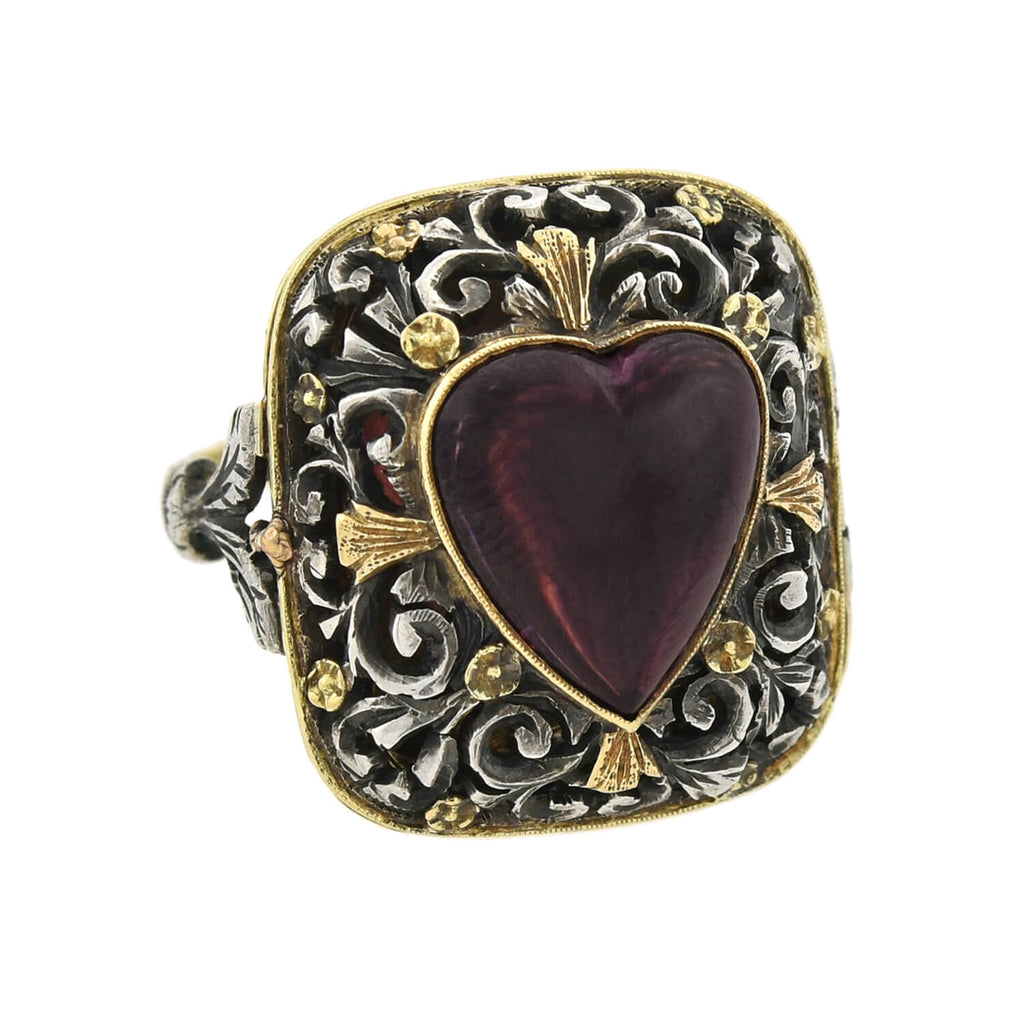 Victorian Large 18kt/Sterling Carved Garnet Heart + Floral Vinaigrette Ring
