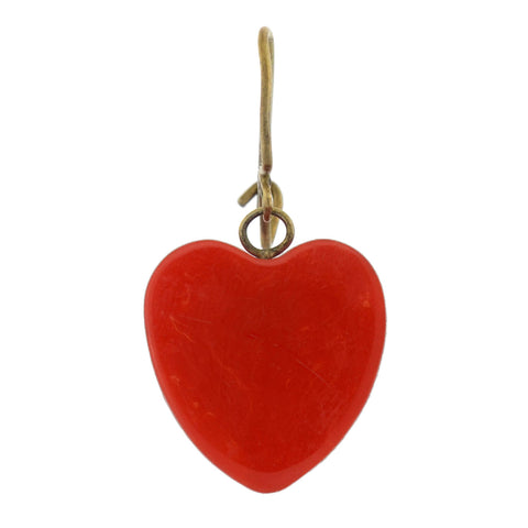 Retro Cherry Red Bakelite Heart-Shaped Dangle Earrings