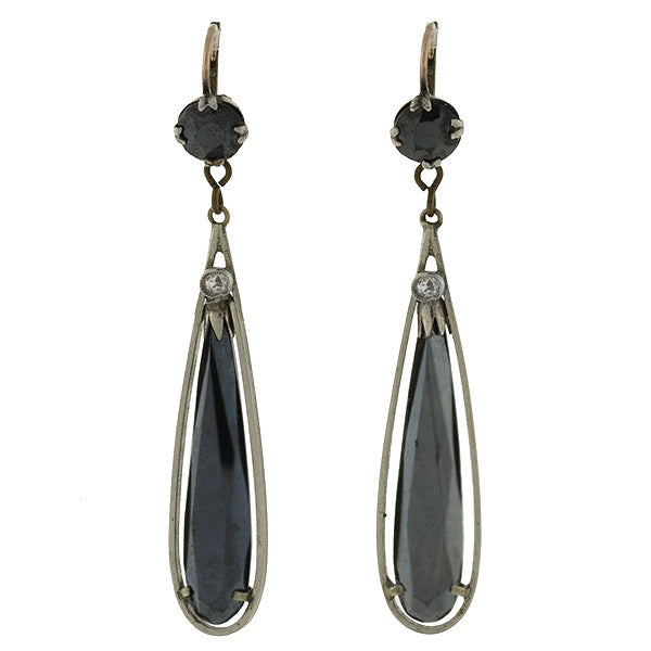 Art Deco Silver Hematite & French Paste Teardrop Earrings