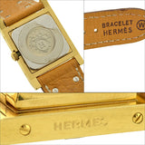 HERMES Estate Médor Gold Tone Tan Leather Watch
