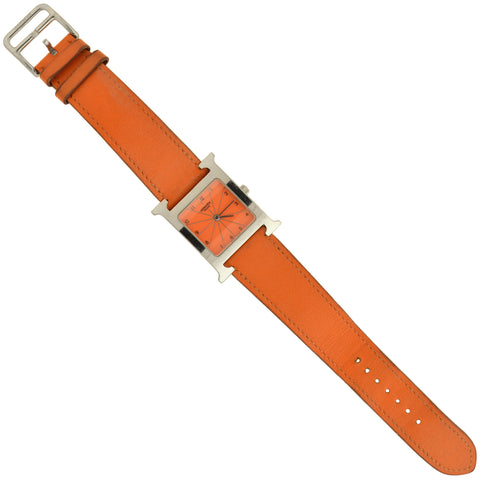 "HERMÉS Estate ""Heure H"" Stainless Steel Orange Leather Ladies Watch"