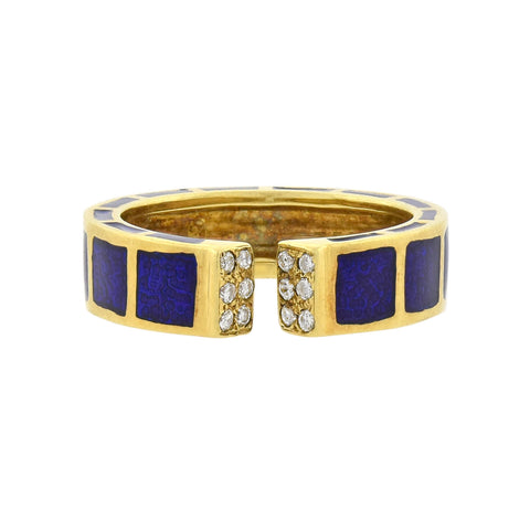 HIDALGO Estate 18kt Enameled + Diamond Open Front Ring