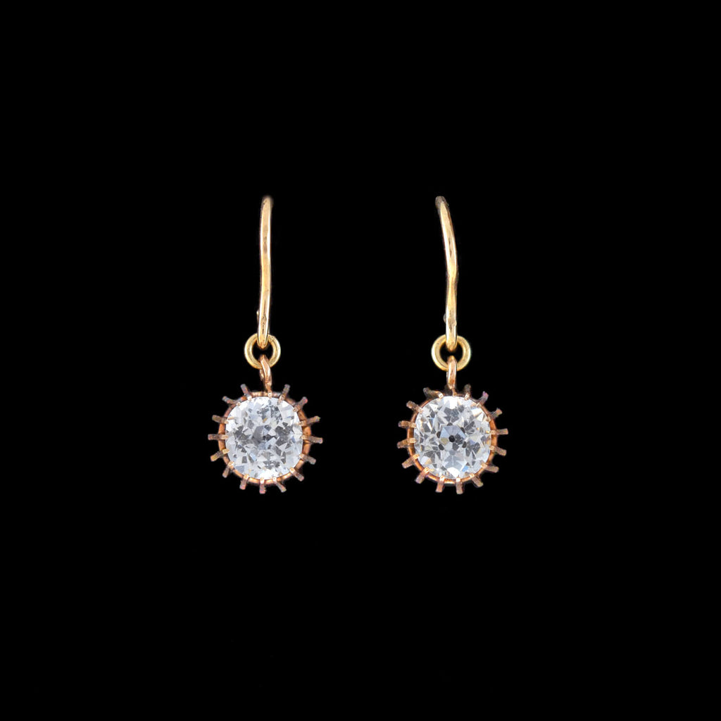 Victorian 10kt French Paste Dangle Earrings