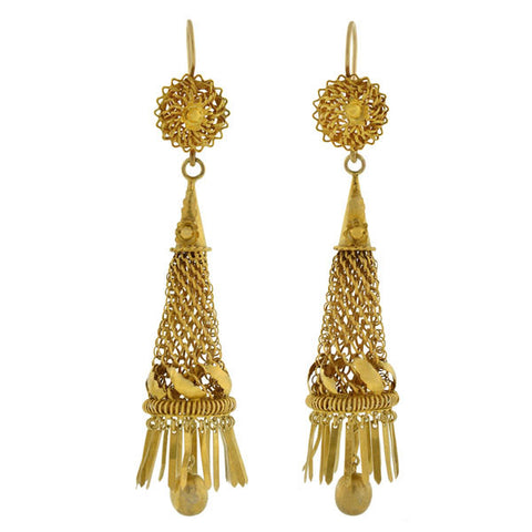Early Victorian Dramatic 15kt Handmade Caged Fringe Earrings