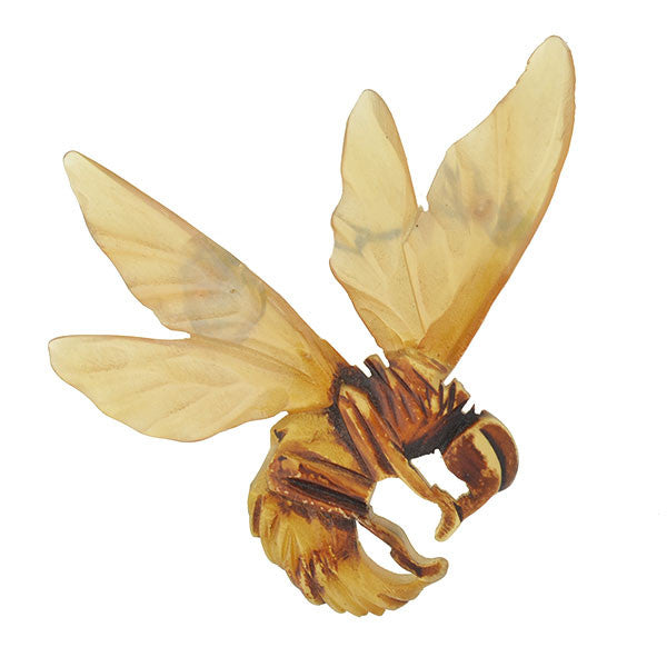 Art Nouveau Horn Carved Hornet Bug Pin