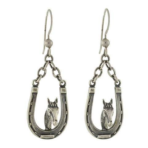 Vintage Sterling Silver Horse & Lucky Horseshoe Earrings