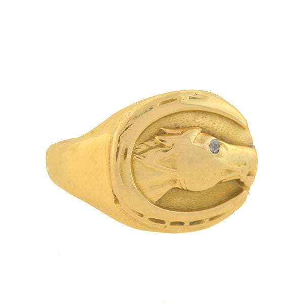 Art Deco 14kt Gold Diamond Horse Head + Horseshoe Ring
