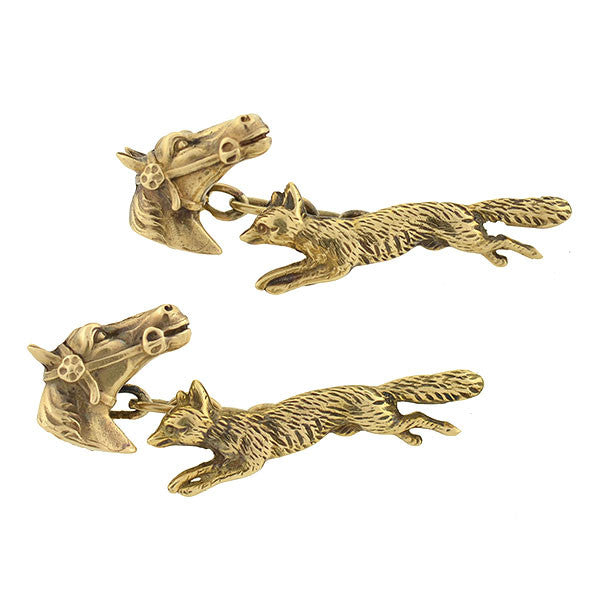 Retro 14kt Fox Hunting Horse & Fox Cufflinks