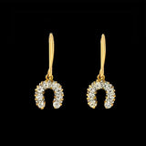 Late Victorian 14kt French Paste Horseshoe Earrings
