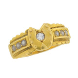 Victorian 18kt Horseshoe English Diamond & Pearl Ring