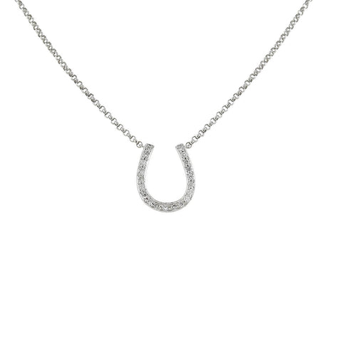 Estate 18kt White Gold + Diamond Horseshoe Pendant Necklace