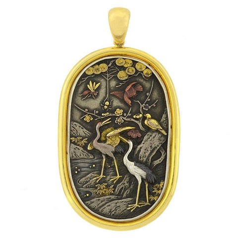 Victorian Huge Mixed Metals Bird Motif Shakudo Pendant