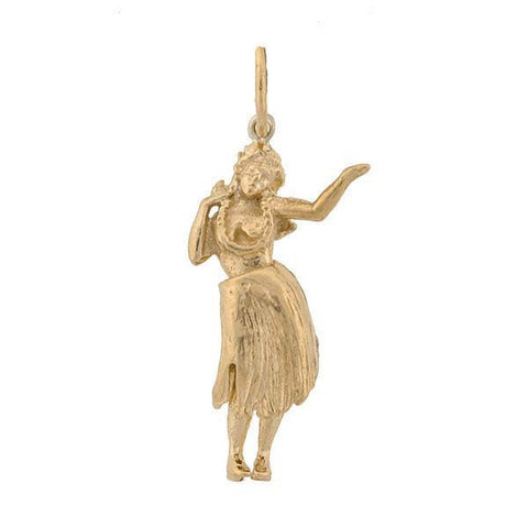 Vintage 14kt Gold Movable Hula Girl Charm
