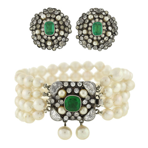 Edwardian Hungarian French Paste & Pearl Earring/Bracelet Set