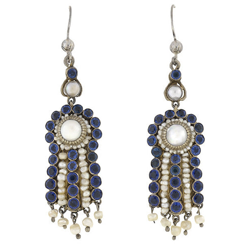 Arts & Crafts Austro Hungarian Sterling Pearl & Faux Sapphire Earrings