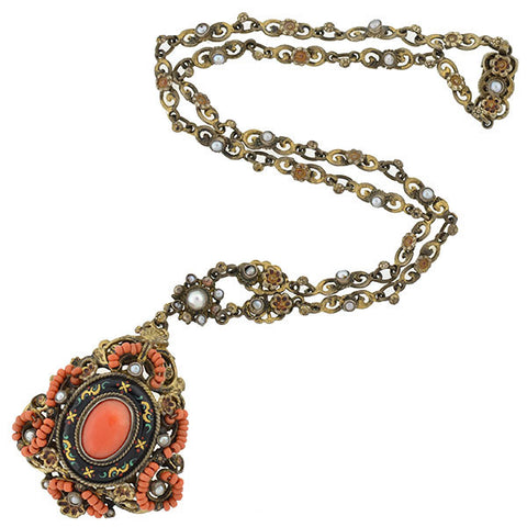 Arts & Crafts Hungarian Sterling Gilt, Enamel, Pearl & Coral Necklace