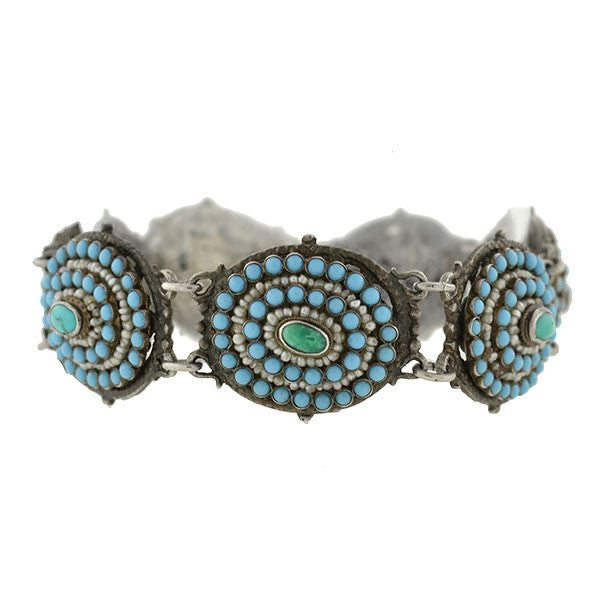 Arts & Crafts Austro-Hungarian Turquoise & Pearl Bracelet