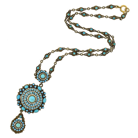 Arts & Crafts Hungarian Sterling Gilt Turquoise & Pearl Necklace