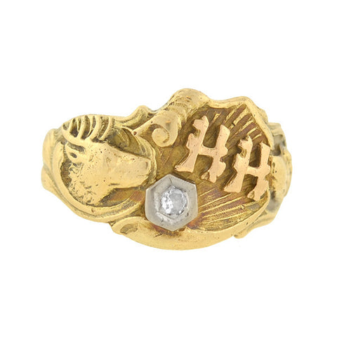 Art Deco 14kt Diamond Deer & Hound Dog Cigar Band Ring