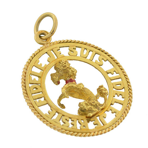 "Vintage 18kt ""Always Loyal"" Poodle Pendant"