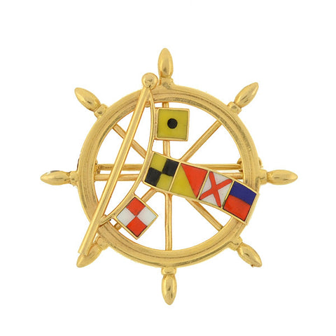 "Late Victorian 14kt Enamel ""I Love You"" Nautical Signal Flags Pin"