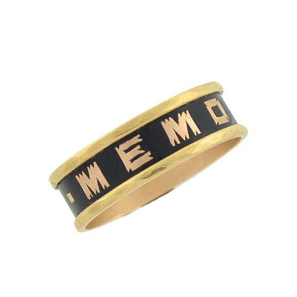"Victorian 9kt & Enamel ""IN MEMORY OF"" Mourning Ring"