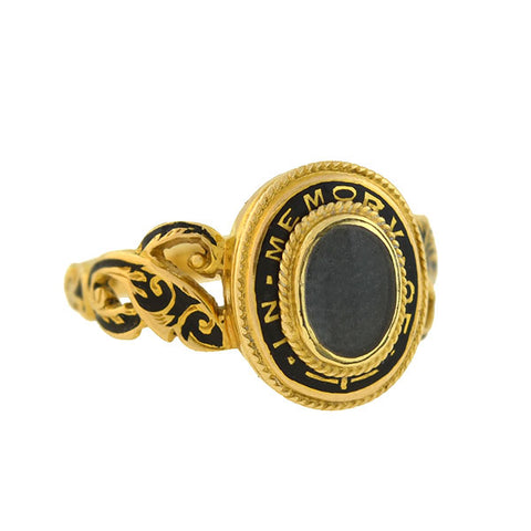Victorian 18kt Enameled Glass Window Hair Locket Mourning Ring