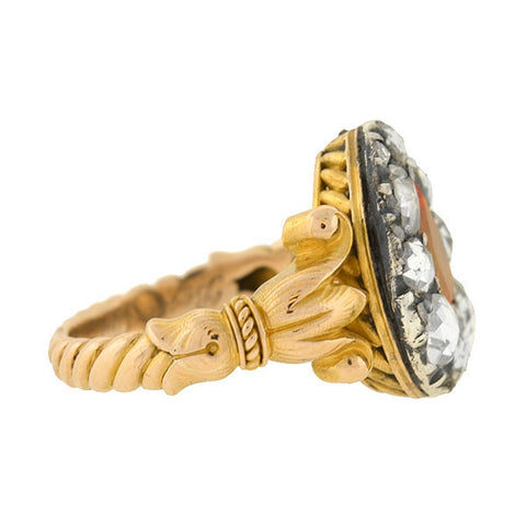 Georgian 18kt/Sterling Imperial Topaz & Diamond Ring