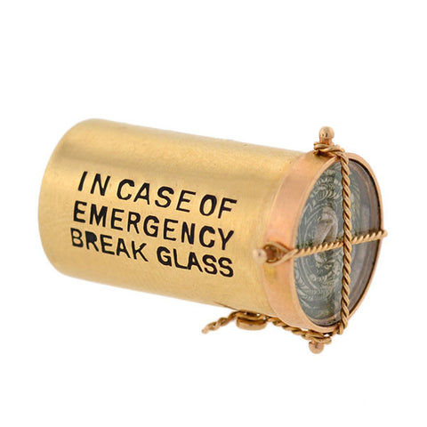 "Vintage 14kt ""In Case of Emergency Break Glass"" Dollar Charm"