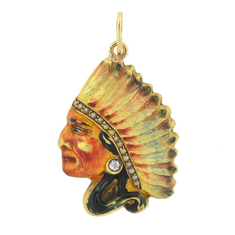 Art Nouveau 14kt Enamel & Diamond Indian Chief Pendant