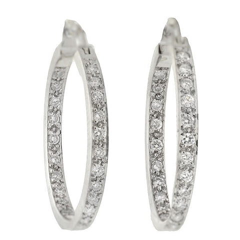 "Estate 14kt ""Inside-Out"" Diamond Hoop Earrings"
