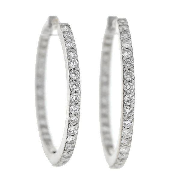 "Estate 14kt Diamond ""Inside-Out"" Hoop Earrings 4.50ctw"